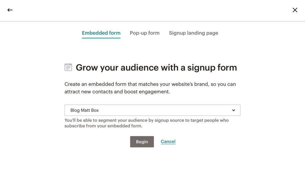 Embeded form jak stworzyćlistę mailingową